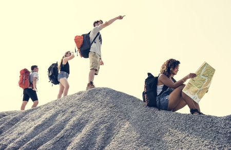 Backpackers on an adventure Stock Photo - 109713527