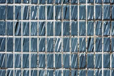 Stained blue tiles textured wallpaper