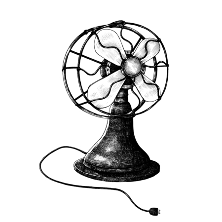 Portable fan vintage style illustration isolated on a white background Banco de Imagens