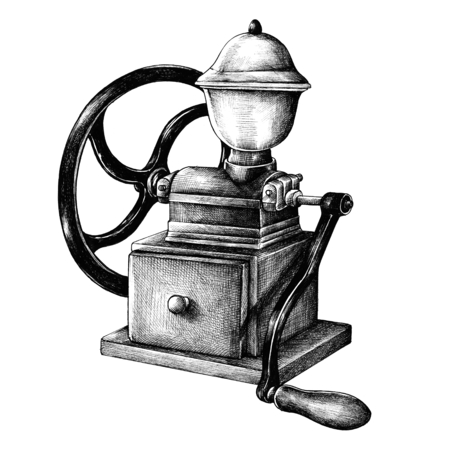 Coffee grinder vintage style illustration isolated on a white background