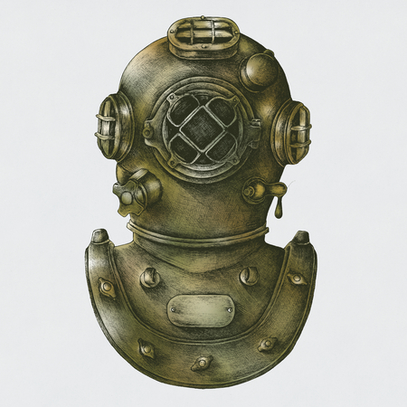 Diving gear vintage style illustration Stock Photo