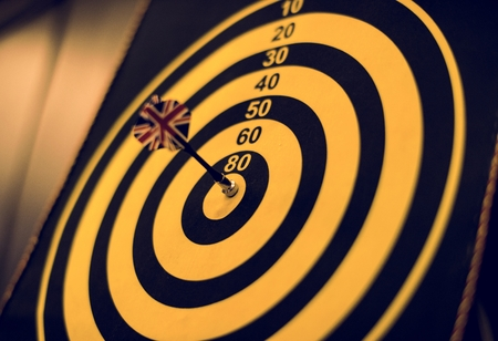 Bullseye score on a dartboard Stock Photo