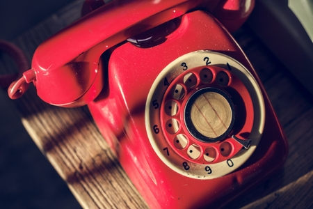 Antique rotary dial retro home phone Foto de archivo - 109637984