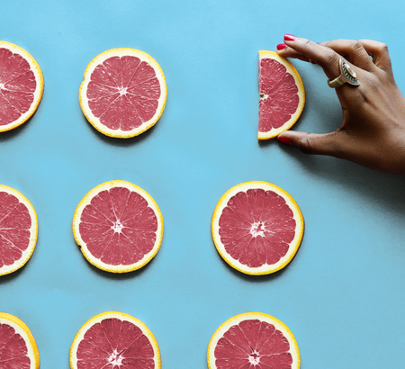 Healthy tasty sliced citrus fruits