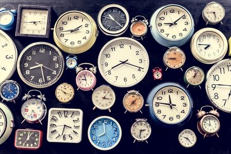 Analog retro clock time punctual tool Stock Photo