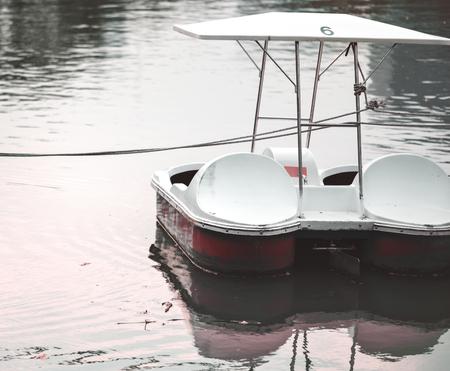 Paddle boat in a dark lake 写真素材