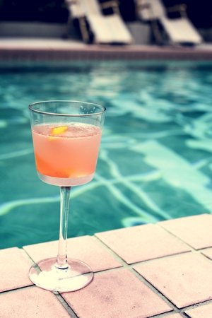 Cocktail drink by the pool Stock Photo
