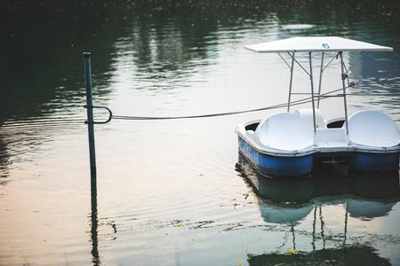 Paddle boat in a dark lake 版權商用圖片