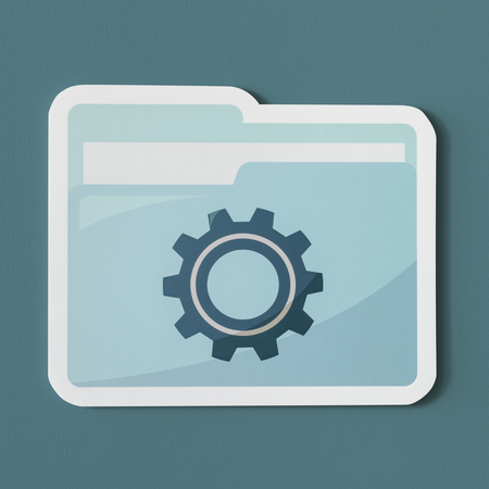 Paper cut out settings folder icon Stock Photo