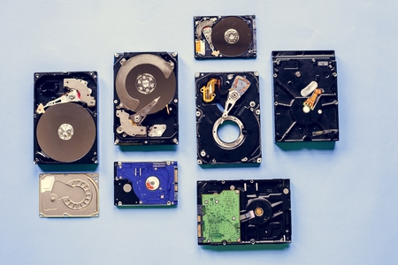 HDD portable data storage isolated on background Stock Photo