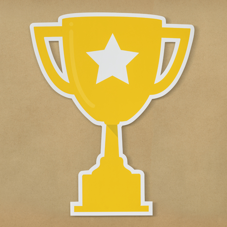 Golden trophy with star icon 스톡 콘텐츠