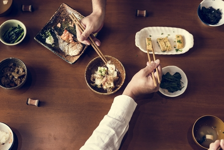 Japanese food set on the table Stok Fotoğraf