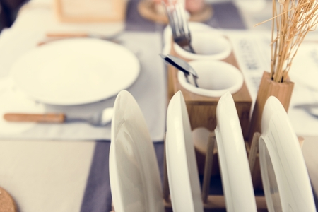 White and Earth Tone Tableware on a Table 版權商用圖片
