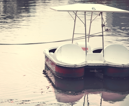 Paddle boat in a dark lake 版權商用圖片