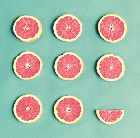 Aerial view of colorful citrus slices Stock Photo