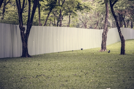 Big fence in an urban park Stockfoto