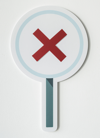 Incorrect red cross rejection icon Stock Photo