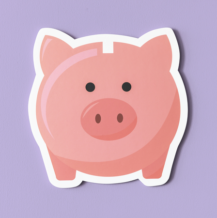 Pink piggy bank savings icon Banco de Imagens