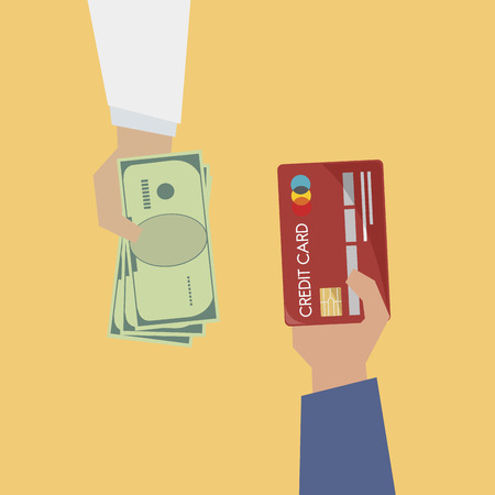Illustration of payment with credit card 스톡 콘텐츠