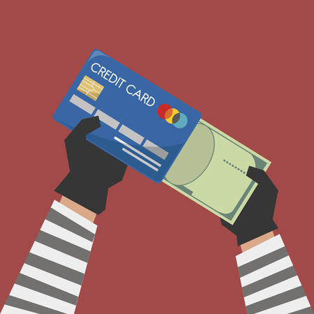 Illustration of credit card with cybercrime Stock Photo