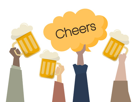 Illustration of people having beers Stock Illustration - 109642125