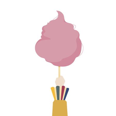 Illustration of a hand holding cotton candy 版權商用圖片
