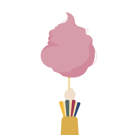Illustration of a hand holding cotton candy Stock Photo