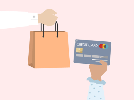 Illustration of online shopping with credit card