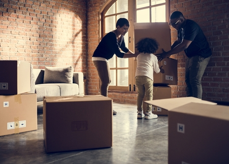 African family unpacking Stock Photo