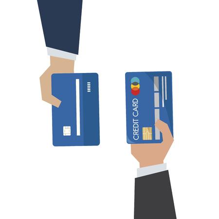 Illustration of hand holding credit card Foto de archivo - 109642550