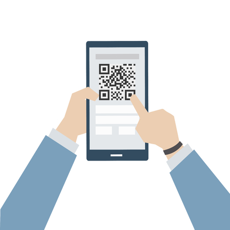 Illustration of online payment with matrix barcode Foto de archivo - 109642639
