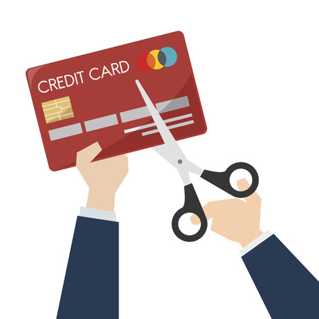 Illustration of scissors cutting a credit card Stock Photo