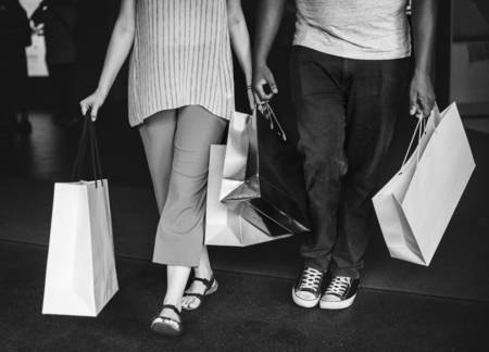 Couple shopping together at a mall