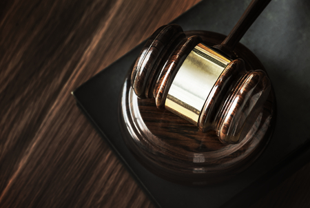 Closeup of gavel judgement concept Stockfoto - 109642828