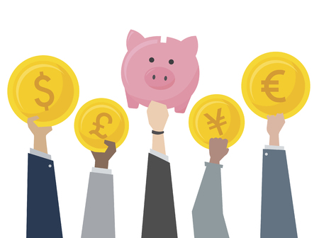 Illustration of piggy bank and currency exchange Imagens