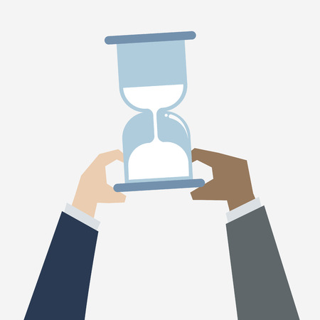 Illustration of hands holding a sandglass