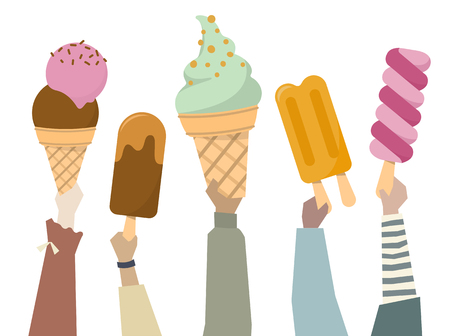 Illustration of diverse people holding colorful ice creams Stock Photo