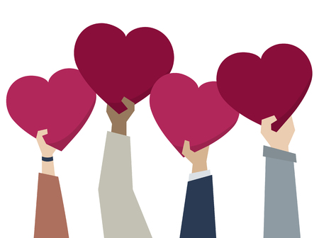 Illustration of diverse people holding hearts Stockfoto