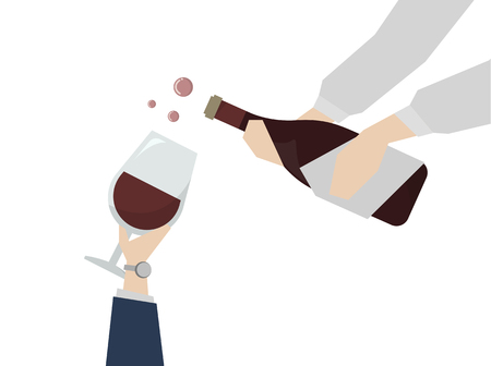 Illustration of wine being served