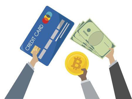 Illustration of money exchange and banking