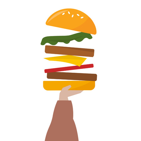 Illustration of a hand holding a cheeseburger