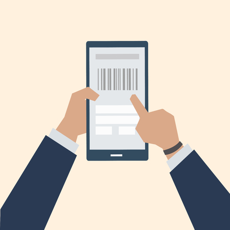 Illustration of barcode online payment Stok Fotoğraf