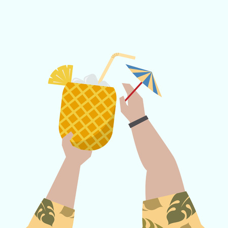 Illustration of a fruity cocktail Stock Photo