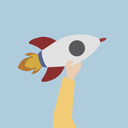 Illustration of a launching rocket Archivio Fotografico - 109643333
