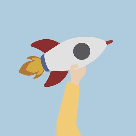 Illustration of a launching rocket
