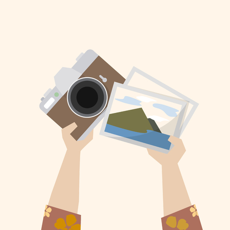 Illustration of a camera and photographs Stock Illustration - 109643356