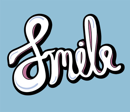 Smile word isolated on background