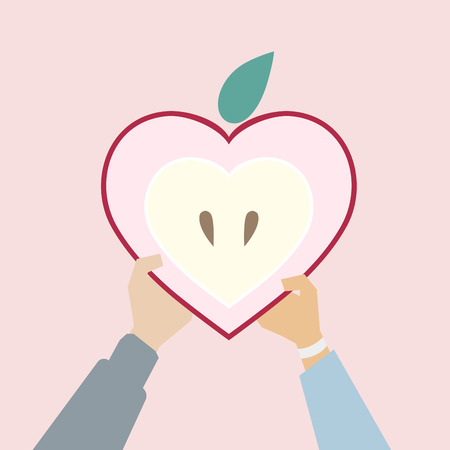 Illustration of a heart shaped apple Banco de Imagens