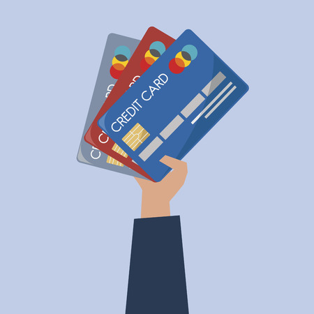 Illustration of hand holding credit cards