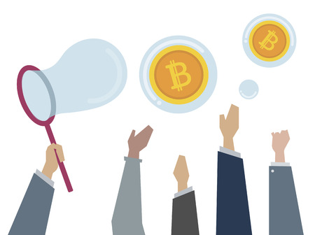 Illustration of people catching bitcoins Stock fotó - 109643500